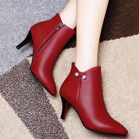 小童马 头层牛皮尖头女靴子 细跟侧拉链短靴 防水台女鞋 1270