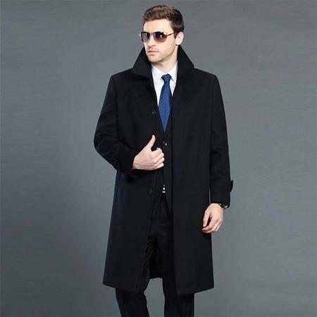 汤河之家 2016中老年男士中长款羊绒外套加长加厚翻领单排扣毛呢大衣   1305-1-皇