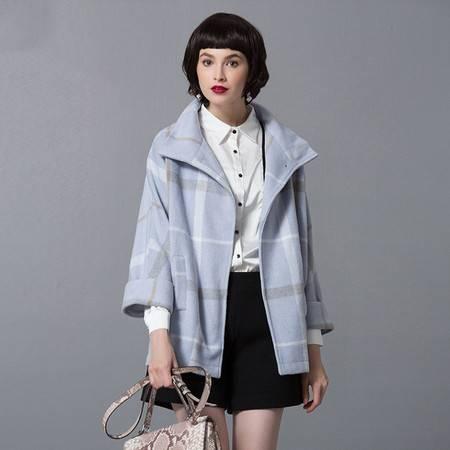 施悦名 2016冬季时尚宽松格子翻领百搭蝙蝠九分袖羊毛呢子外套