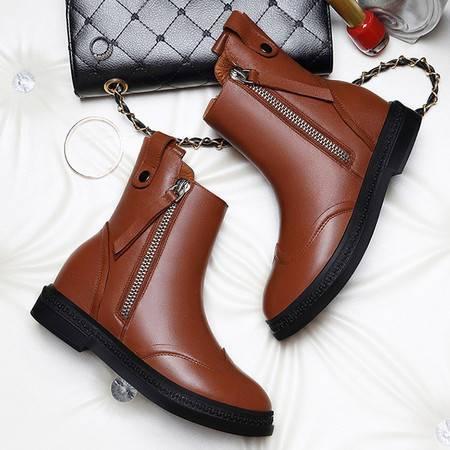 小童马 头层牛皮圆头女靴子 侧拉链平跟女短靴 防水台女鞋 1282