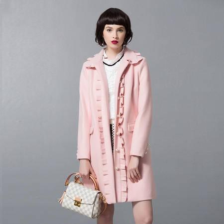 施悦名 2016冬季加厚女式毛呢外套中长款单排扣羊毛大衣呢子上衣风衣厚款