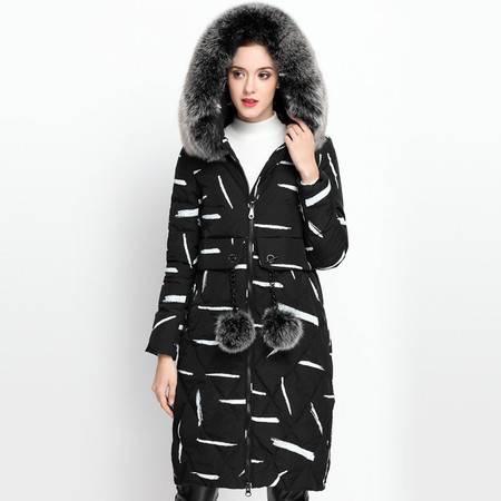 施悦名 2016冬季新款女式羽绒服 欧美风长款连帽狐狸毛领羽绒外套 冬装女