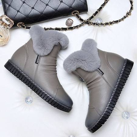 小童马 头层牛皮平底女靴子 圆头侧拉链女短靴 防水台女鞋 1305
