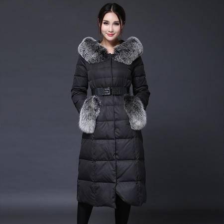 施悦名 2016冬新款欧美时尚羽绒服连帽修身加长款羽绒服