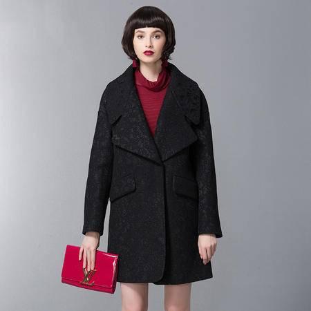 施悦名 原创新款蕾丝翻领冬季加厚毛呢外套大衣中长款廓形大码女装