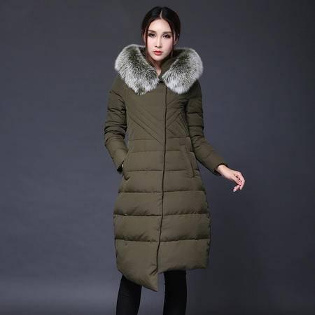 施悦名 2016冬新款欧美羽绒服时尚潮流带帽毛领修身羽绒服长款