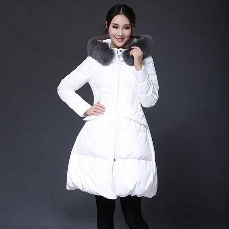 施悦名 2016冬新款欧美羽绒服时尚潮流带帽修身羽绒服中长款