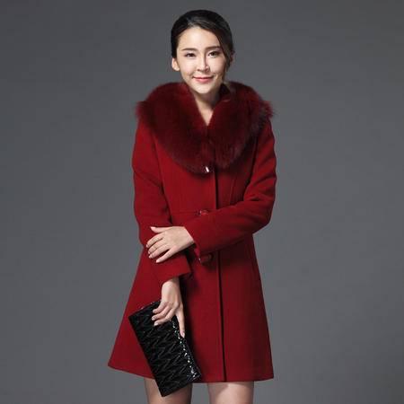 施悦名 2016秋冬正品新款韩版修身中长款高端狐狸毛领羊绒羊毛大衣女外套