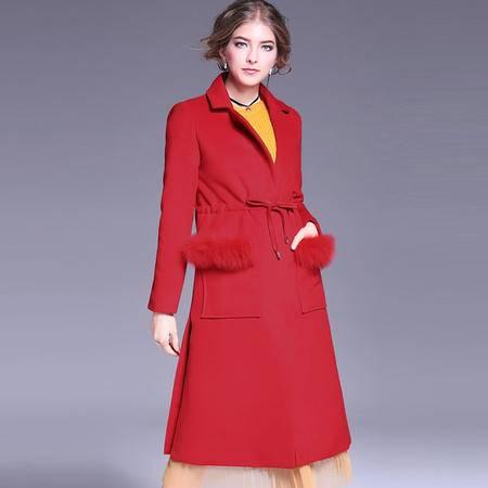 施悦名 2016秋冬气质红色大衣优雅大气翻领兔毛口袋抽绳修身毛呢外套
