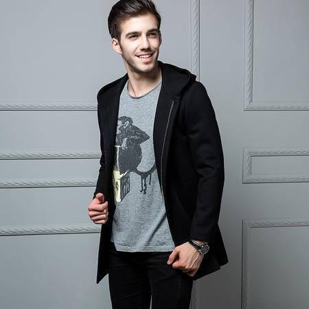 汤河之家 男式夹克外套2016时尚潮流新品 韩版格子长袖拉链气质合体型 黑大衣