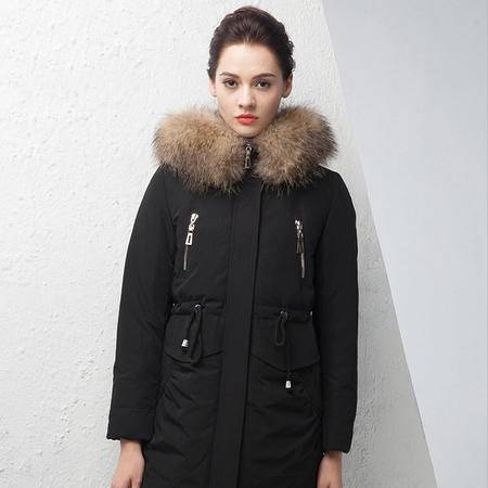 施悦名 新款羽绒服女中长款大毛领时尚羽绒服 加厚大码冬装外套