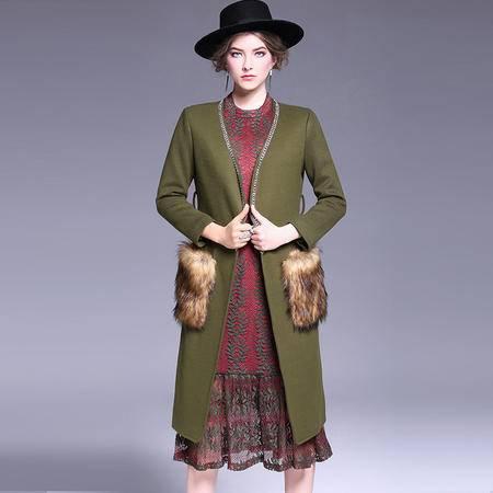 施悦名 欧洲站冬季毛呢外套精致手工镶钻修身系带毛毛口袋毛呢大衣