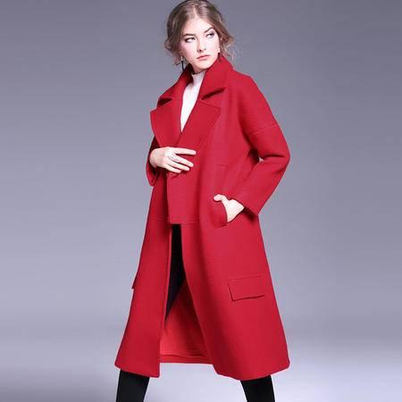 施悦名 欧洲站冬季女装翻领宽松大码毛呢外套茧型大气羊毛呢子大衣