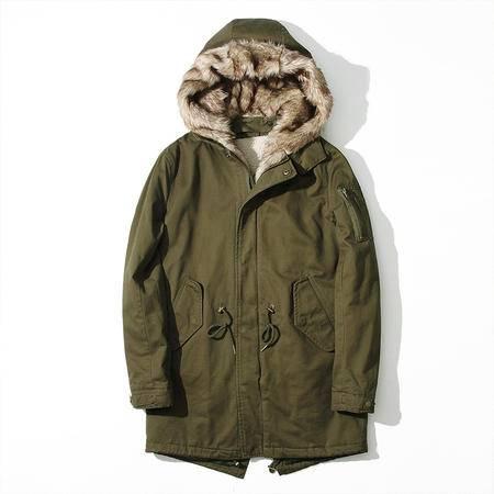 汤河之家 男式棉衣 加厚中长款冬装外套 欧美连帽宽松毛领男士保暖棉服 RZ-M8875