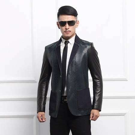 汤河之家 男装真皮皮衣西装领时尚男士皮夹克外套   911039