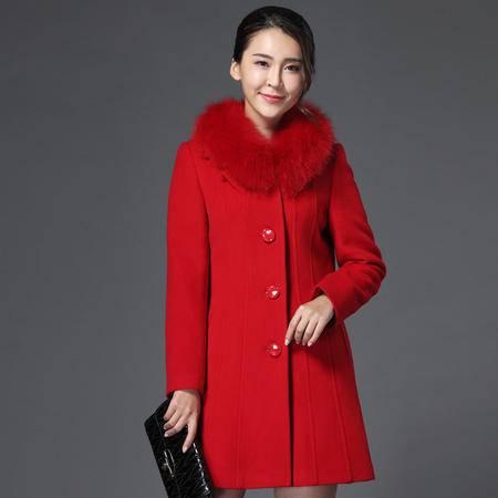 施悦名 中老年新款女装秋冬短款羊绒大衣中年妈妈真狐狸毛领羊毛呢短外套