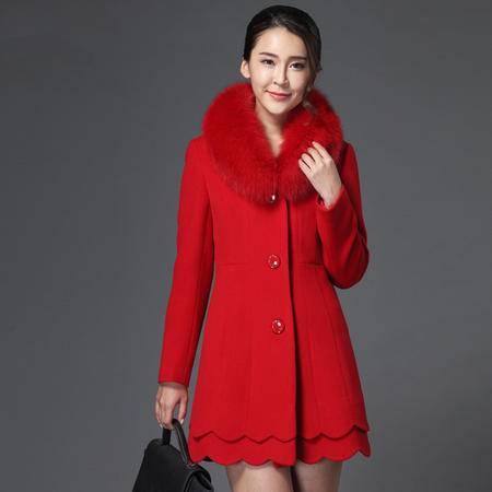 施悦名 2016秋冬新款毛领双面羊绒大衣女中长款毛呢外套纯色呢大衣