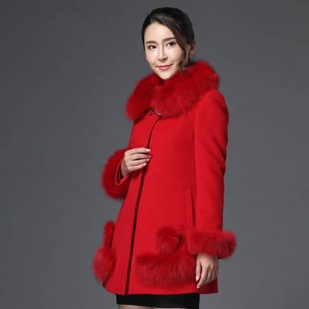 施悦名 羊绒大衣女2016新款秋冬装羊毛呢子斗篷大码外套中长款毛领外套
