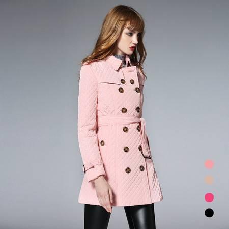 施悦名 2016冬装新款 翻领菱形格中长款棉衣外套女式大码加厚款