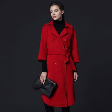 施悦名 2016新款羊毛双面呢女士毛呢外套修身气质款呢子大衣