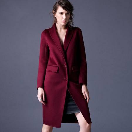 施悦名 秋冬季新款品牌女装专柜正品毛呢外套 纯手工双面羊绒大衣女