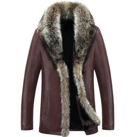 汤河之家 冬新款绵羊皮衣 男士皮毛一体皮草 男士中长款外套 加绒加厚皮衣 1080