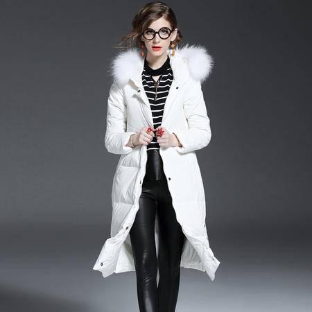 小童马 冬季欧美新款羽绒服白鸭绒轻薄保暖长款连帽羽绒服
