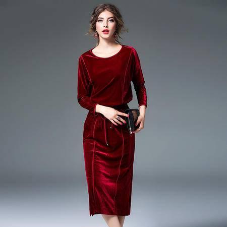 施悦名 2016秋冬女装新款欧美风拼接设计丝绒收腰长袖连衣裙