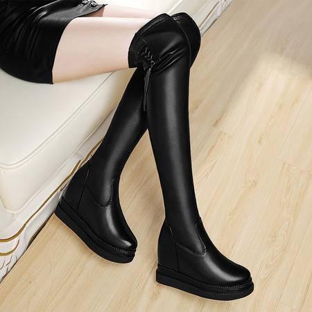 小童马 时尚潮女鞋冬季长筒内增高防水台过膝靴   6D598