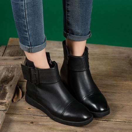 小童马 复古方头真皮短靴皮带扣女靴2016冬季棉靴牛皮机车靴 T16016-3