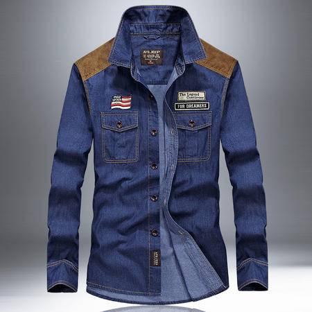 汤河之家 新款长袖衬衫男装秋冬男士衬衣大码宽松寸衫   63C67008A