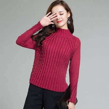 施悦名 2016秋冬新款韩版羊毛针织衫 铆钉半高领打底衫 百搭修身女式毛衣