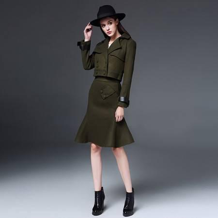 施悦名 冬装新款欧洲站绿色毛呢短外套 军旅风短套装短反领上衣