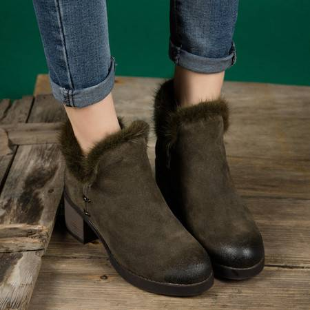 小童马 水貂毛保暖棉靴气质粗跟真皮短靴2016冬季新款牛皮女靴子 T3280
