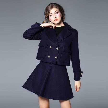 施悦名 双排扣小外套加半裙毛呢套装