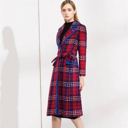 施悦名 2016冬季女装格子毛呢大衣系腰带显瘦加厚风衣加长款外套