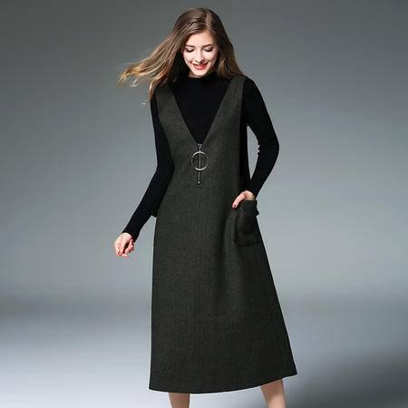 施悦名 2016秋冬新款女装时尚圆环拉环宽松毛呢背带裙女