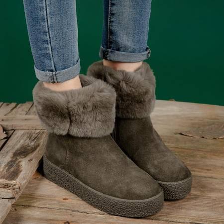 小童马 百搭款真皮女靴兔毛雪地靴2016冬季新款磨砂牛皮保暖棉靴侧拉链 T9871