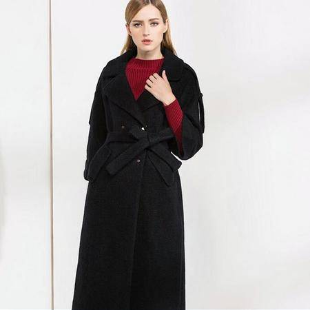 施悦名 冬季女装新款西装领插肩袖双排扣系腰带中长加厚宽松毛呢大衣外套