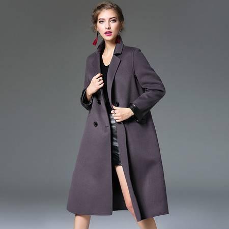 施悦名 2016冬女装双排扣纯手工羊毛大衣高档长款外套羊绒双面呢子风衣女