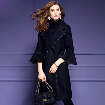 施悦名 2016秋冬新款毛呢外套女中长款时尚喇叭袖黑色羊毛大衣