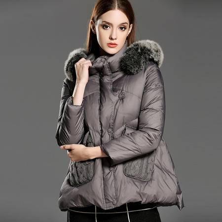 施悦名 冬装新款女式羽绒服欧洲站女装貂绒大毛领羽绒外套加厚