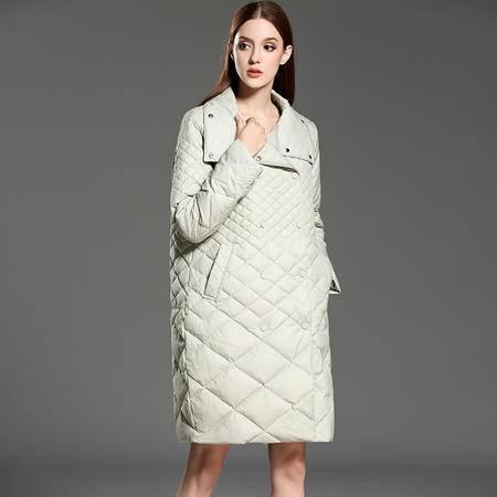 施悦名 冬季新款 欧美时尚 个性双排扣宽松轻薄羽绒服外套