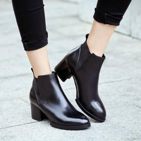 小童马 新款低筒牛皮欧美切尔西靴防水台中跟圆头橡胶松紧带流行女鞋 WWW-0138