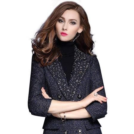 施悦名 2016秋冬新款七分袖风衣外套女中长款时尚钉珠修身风衣