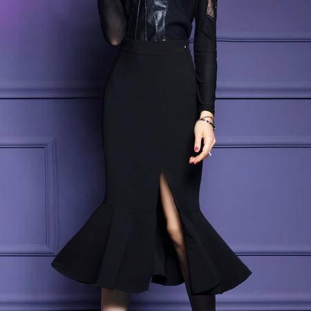 施悦名 2016秋冬新款黑色半身裙中长款性感开叉鱼尾裙摆包臀裙
