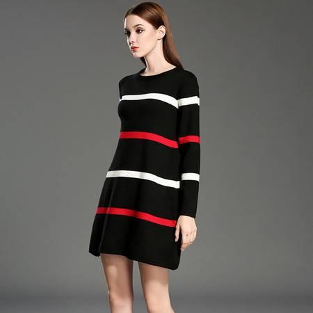 施悦名 冬季新款 欧美时尚 经典条纹撞色针织连衣裙
