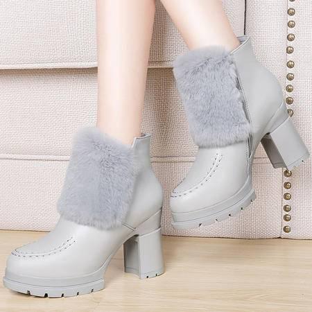 小童马 兔毛粗跟女靴加绒保暖防水台侧拉链韩版短筒女靴 6d655