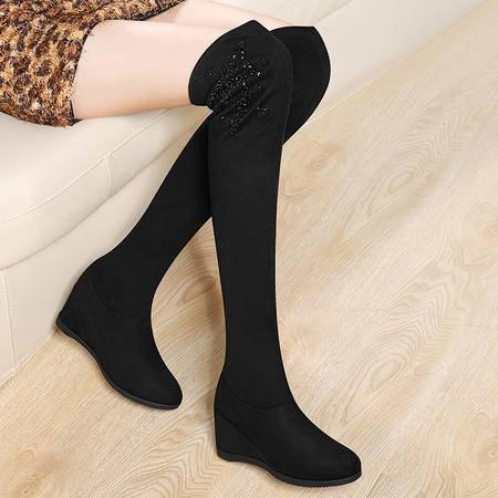 小童马 过膝长靴瘦腿弹力冬季新款欧美高筒靴女鞋加绒靴子   6D636