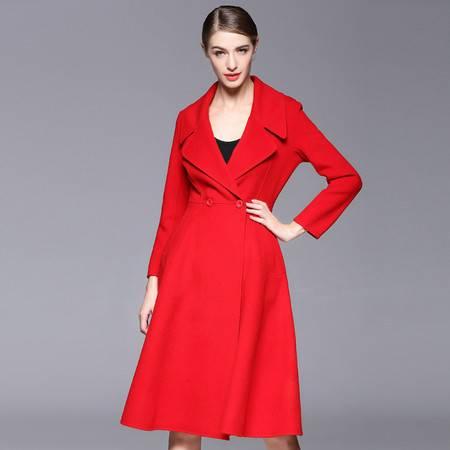 施悦名 毛呢外套女翻领百褶裙摆式双面呢羊毛大衣